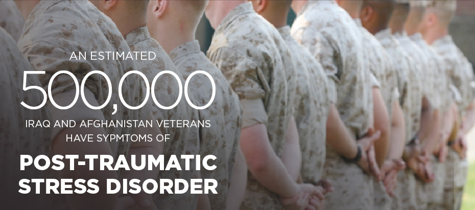 An Estimated 500,000 Iraq and Afghanistan Veterans have symptoms of post-traumatic stress disorder.